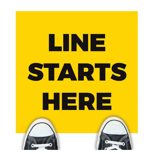 Yellow Line Starts Here Floor Stickers