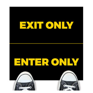 Black Enter Exit Floor Stickers