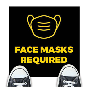 Jet Black Face Masks Required Floor Stickers