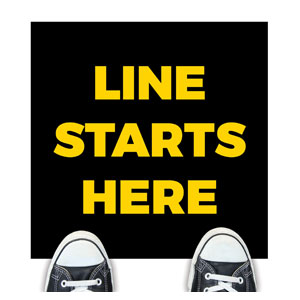 Black Line Starts Here Floor Stickers