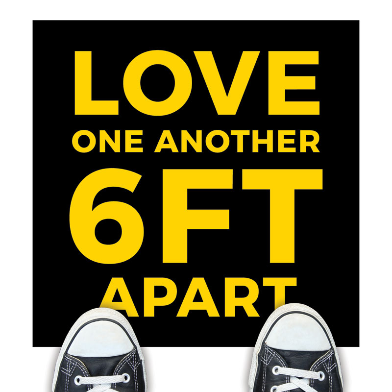 Floor Stickers, Welcome Back, Jet Black Love One Another, 17 x 17