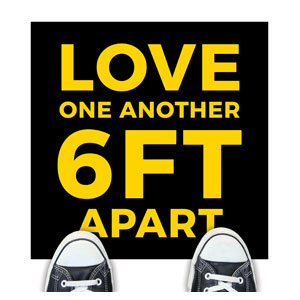 Jet Black Love One Another Floor Stickers