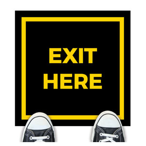 Black Exit Here Floor Stickers