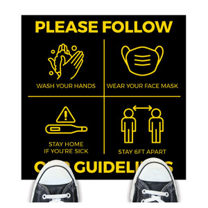 Black Guidelines Floor Stickers