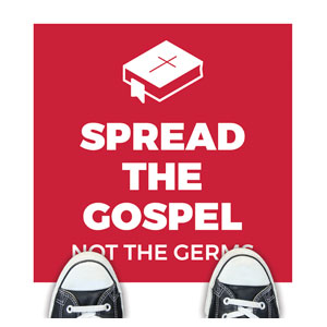 Red Spread the Gospel Floor Stickers