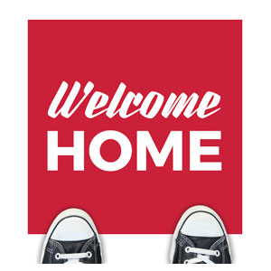 Red Welcome Home Floor Stickers