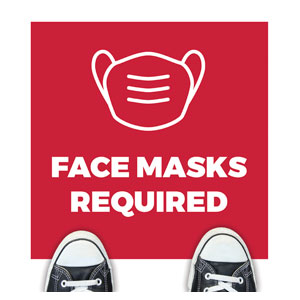 Red Face Masks Required Floor Stickers