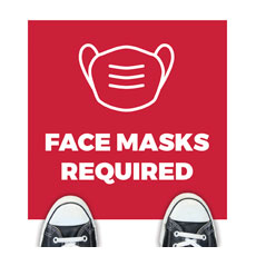 Red Face Masks Required