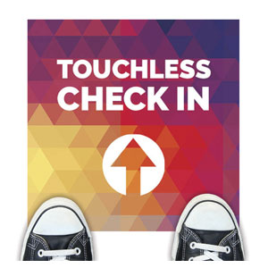 Geometric Bold Touchless Check In Floor Stickers