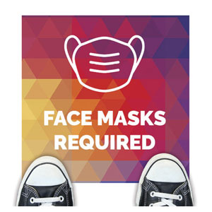 Geometric Bold Face Masks Required Floor Stickers