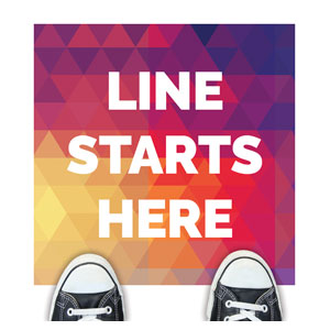 Geometric Bold Line Starts Here Floor Stickers