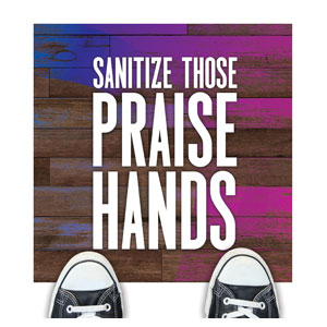 Colorful Wood Praise Hands Floor Stickers