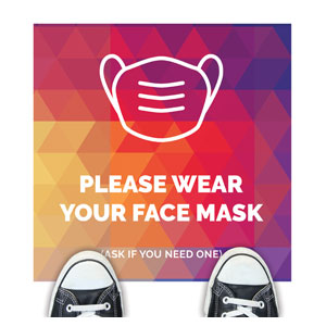 Geometric Bold Face Mask Floor Stickers