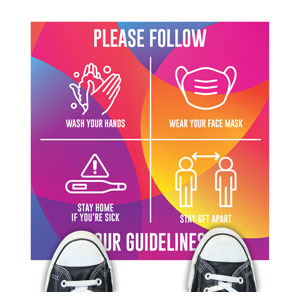 Curved Colors Guidelines Floor Stickers