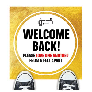 Gold Dot Welcome Back Distancing Floor Stickers