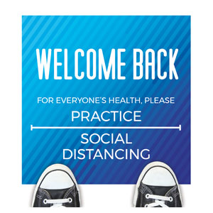 Retro Geo Blue Welcome Back Distancing Floor Stickers
