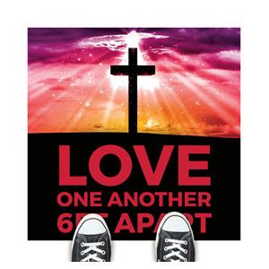 Hope Life Cross Love One Another Floor Stickers