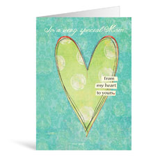 Green Heart Birthday Greeting Card