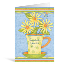 Tea Cup Flowers Birthday Greeting Card