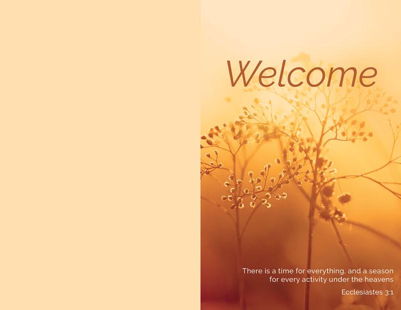 welcome season fall bulletin - church bulletins