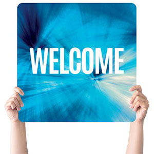 Chevron Welcome Blue Handheld sign