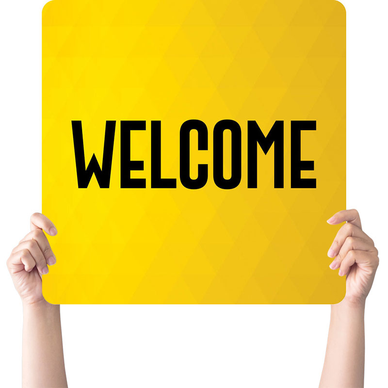 Yellow Welcome Hand Held Handheld Sign Church Banners