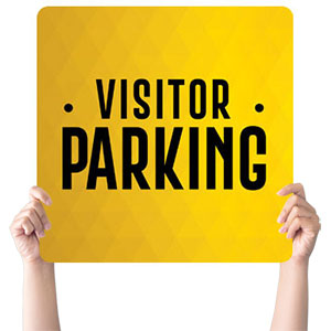Yellow Visitor Parking Hand Held Handheld sign