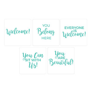Turquoise Script Welcome Set Hand Held Handheld Signs