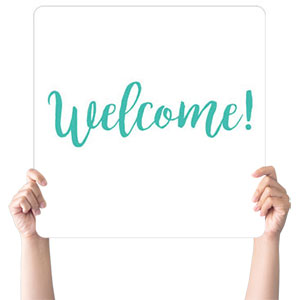 Turquoise Script Welcome Hand Held Handheld sign