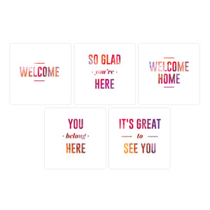 White and Bright Welcome Set Hand Held Handheld Signs
