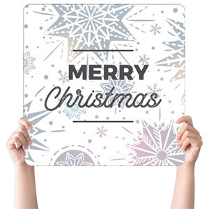 Foil Snowflake White Christmas Handheld sign