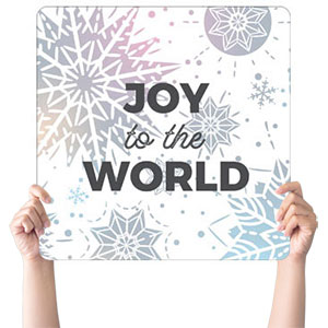 Foil Snowflake White Joy Handheld sign
