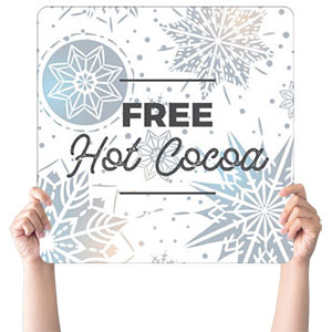 Foil Snowflake White Cocoa Handheld sign