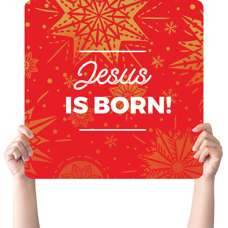Handheld Signs, Christmas, Foil Snowflake Red Jesus Born, 21 x 21