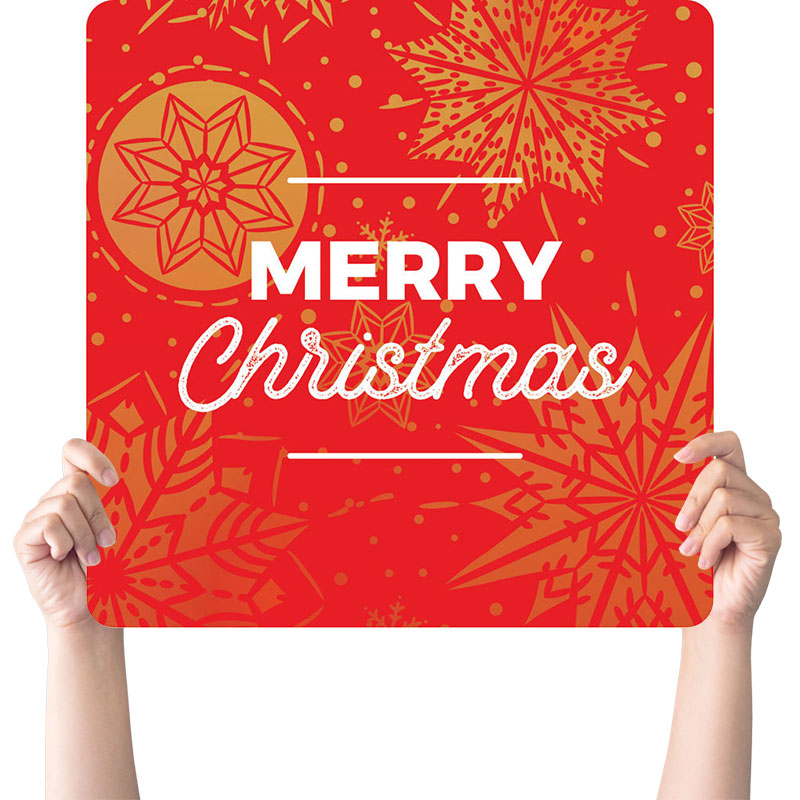 Handheld Signs, Christmas, Foil Snowflake Red Christmas, 21 x 21