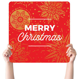 Foil Snowflake Red Christmas Handheld sign