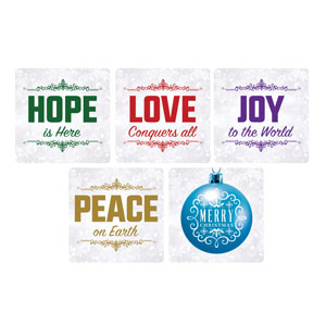 Silver Snow Christmas Set Handheld Signs