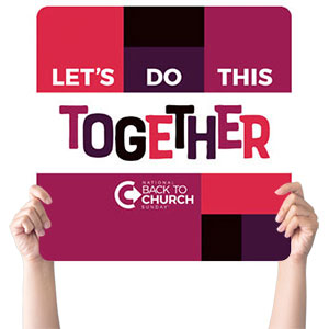 BTCS Let's Do This Together Handheld sign