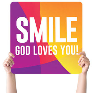 Curved Colors Smile Handheld sign