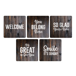 Dark Wood Greeter Set Handheld sign