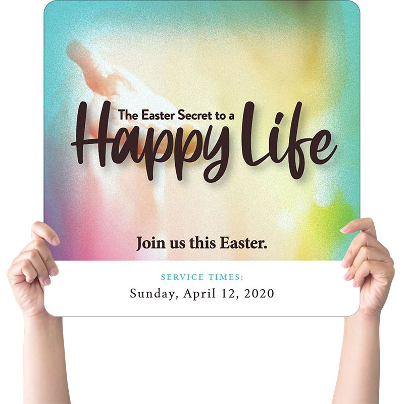 Handheld Signs, Easter, Happy Life, 21 x 21