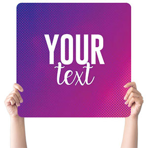 Purple Gradient Your Text Handheld sign