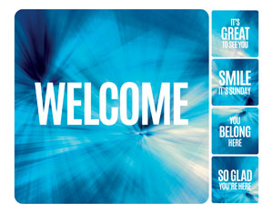 Chevron Blue Greeter Set Handheld sign