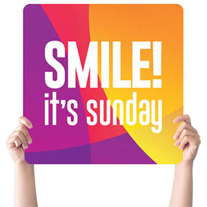 Curved Colors Smile Sunday Handheld sign
