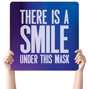 Aurora Lights Smile Mask Handheld sign