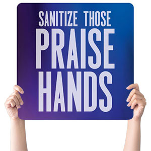 Aurora Lights Praise Hands Handheld sign
