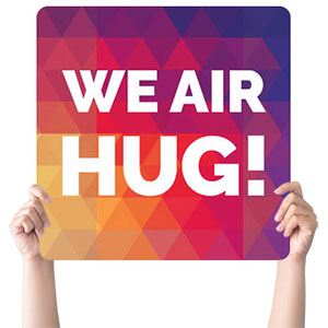 Geometric Bold Air Hug Handheld sign