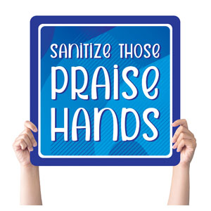 Vibrant Colors Praise Hands Handheld sign