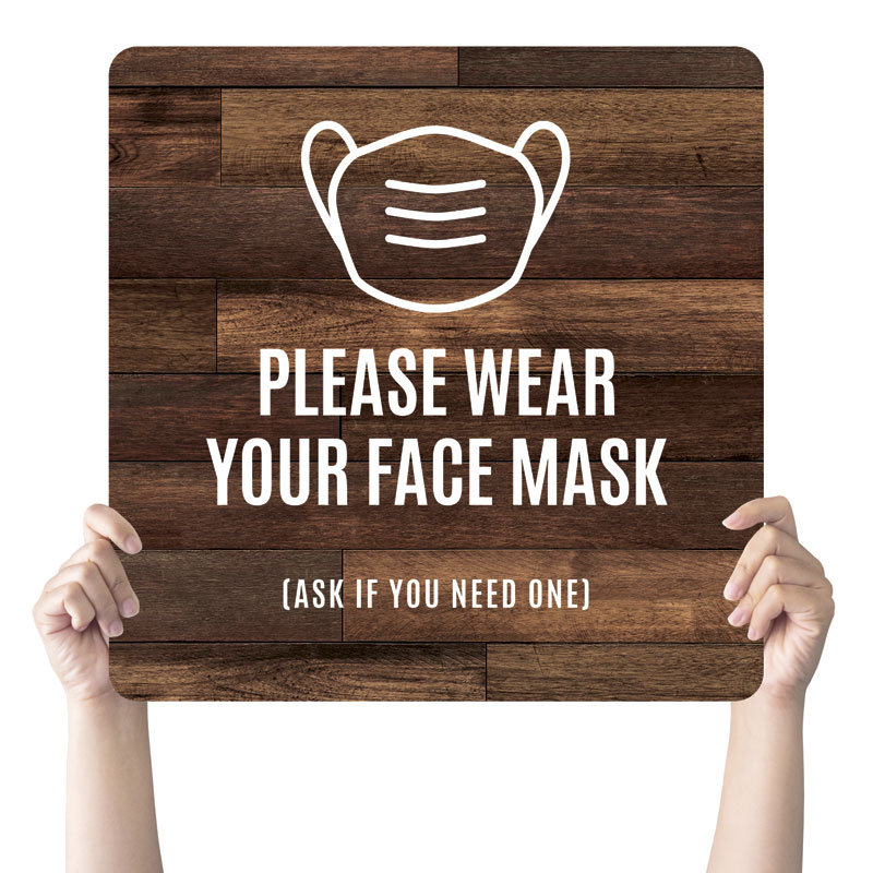 Handheld Signs, Welcome Back, Walnut Face Mask, 21 x 21