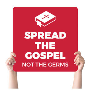 Red Spread the Gospel Handheld sign